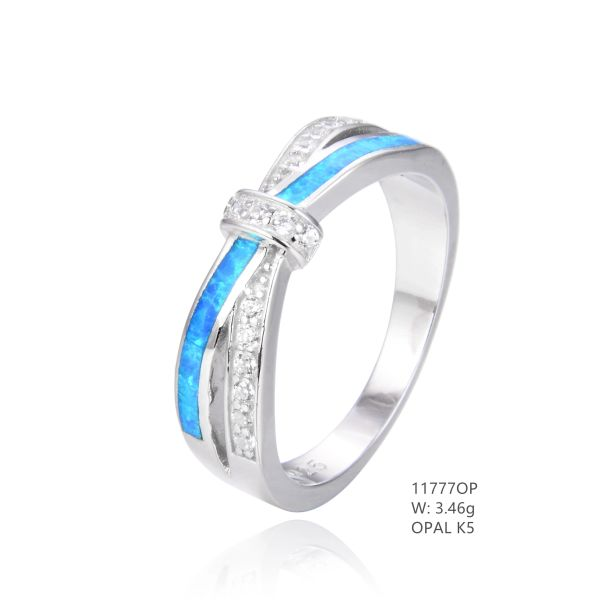 925 SILVER SIMULATED BLUE INLAID OPAL X BAND RING -11777-K5-BY TULU CO