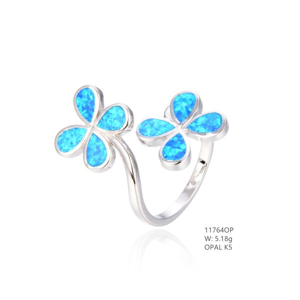 925 SILVER SIMULATED BLUE INLAID OPAL FLOWER RING -11764-K5-BY TULU CO
