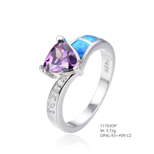 925 SILVER SIMULATED BLUE INLAID OPAL TRIANGLE AMETHYST CZ RING -11763-K5-09-BY TULU CO
