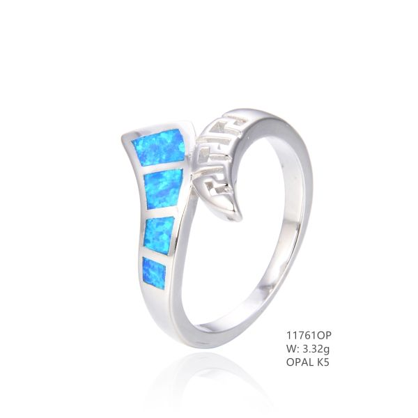 925 SILVER SIMULATED BLUE INLAID OPAL WAVE RING -11761-K5 BY TULU CO