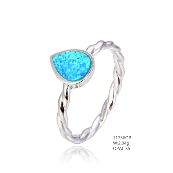 925 SILVER SIMULATED BLUE INLAID OPAL DROP ROPE RING -11736-K5 BY TULU CO