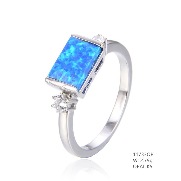 925 SILVER SIMULATED BLUE INLAID OPAL SQUARE RING -11733-K5 BY TULU CO