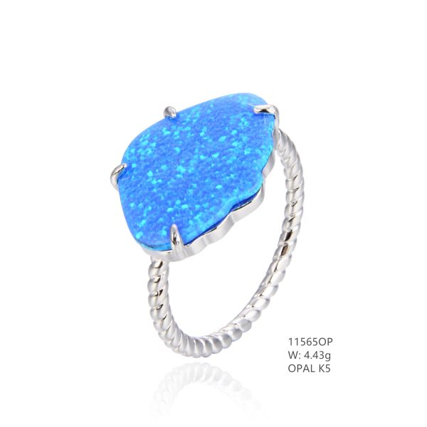925 SILVER SIMULATED BLUE INLAID OPAL SHELL RING -11565-K5 BY TULU CO