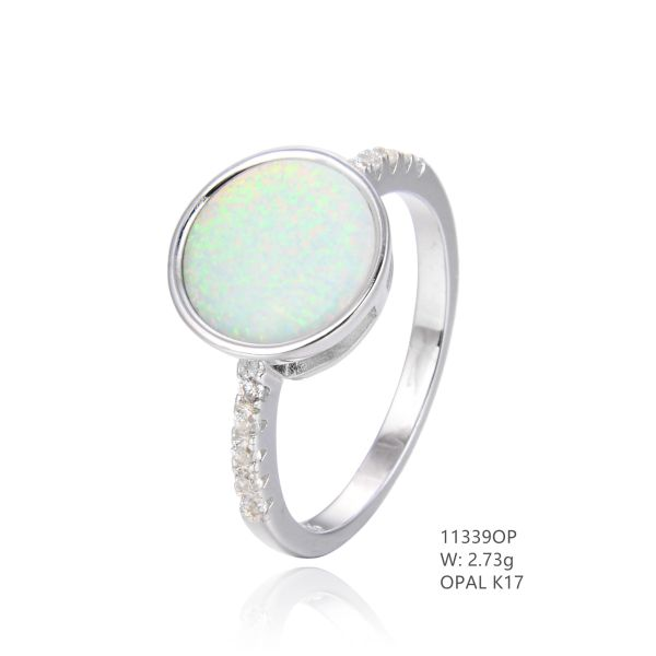 925 SILVER SIMULATED WHITE ROUND INLAID OPAL RING -11339-K17-BY TULU CO