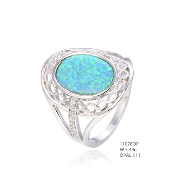 925 SILVER SIMULATED BLUE VINTAGE INLAID OPAL RING -11076-K5-BY TULU CO