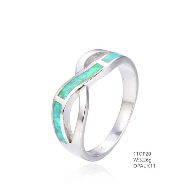 925 SILVER SIMULATED PINK X INLAID OPAL RING -11OP20-K11-BY TULU CO