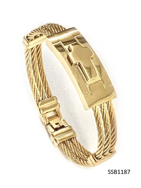 STAINLESS STEEL ID ,CABLE STYLE CROSS MAN BANGLE BRACELET GOLD COLOR -SSB1187-GD
