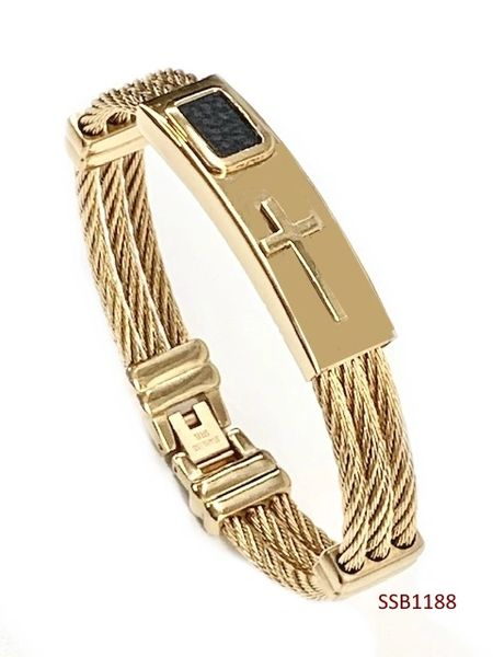 STAINLESS STEEL ID ,CABLE STYLE CROSS MAN BANGLE BRACELET GOLD & BLACK COLOR -SSB1188-GD