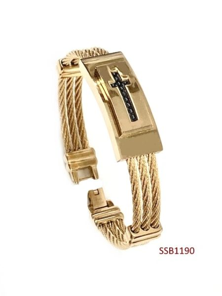STAINLESS STEEL ID ,CABLE STYLE CROSS MAN BANGLE BRACELET GOLD & BLACK COLOR -SSB1190-GD