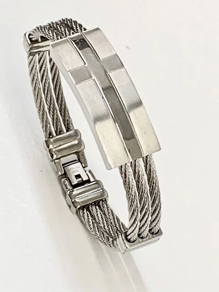 STAINLESS STEEL ID ,CABLE STYLE CROSS MAN BANGLE BRACELET SILVER COLOR -SSB1189-SIL