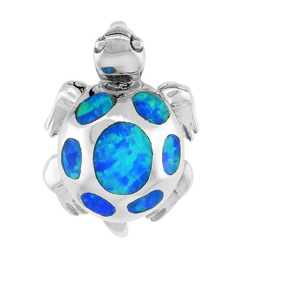 925 STERLING SILVER SIMULATED BLUE OPAL TURTLE PENDANT - 33728-K5
