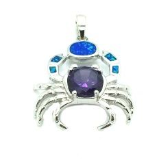 925 sterling silver simulated blue opal cz amethyst crab pendant large size-SEA LIFE - 33op86-k5-09