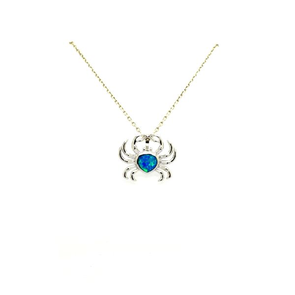 925 STERLING SILVER SIMULATED BLUE OPAL LARGE CRAB SEA LIFE PENDANT, 33026-k5