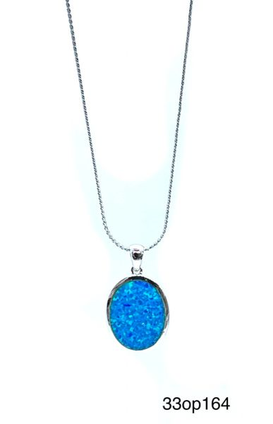 925 Sterling Silver Rhodium Plated Simulated Blue Opal OVAL Pendant-33op164-k5