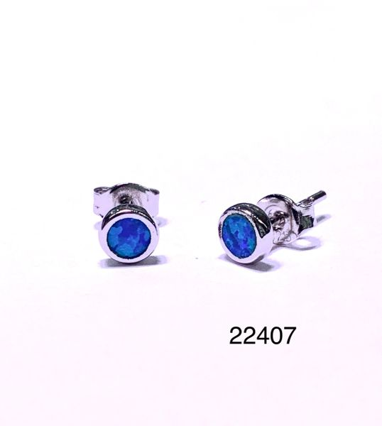 925 STERLING SILVER SIMULATED BLUE OPAL STUD EARRINGS - BEZEL SET - 22407-K5