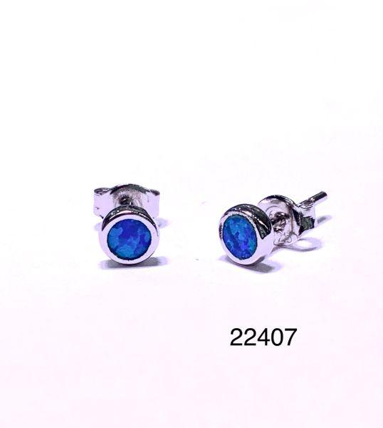 925 STERLING SILVER SIMULATED BLUE OPAL STUD EARRINGS - BEZEL SET - 22407-K5