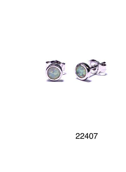 925 STERLING SILVER SIMULATED WHITE OPAL STUD EARRINGS - BEZEL SET - 22407-K17