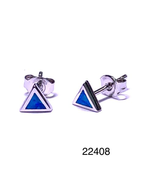 925 STERLING SILVER SIMULATED TRIANGLE BLUE OPAL STUD EARRINGS - BEZEL SET - 22408-K5
