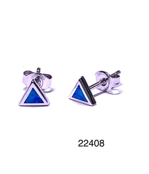 925 STERLING SILVER SIMULATED TRIANGLE BLUE OPAL STUD EARRINGS - BEZEL SET - 22408-K5