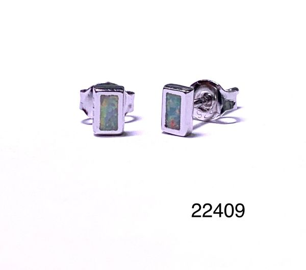 925 STERLING SILVER SIMULATED RECTANGLE WHITE OPAL STUD EARRINGS - BEZEL SET - 22408-K17