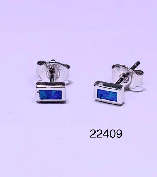 925 STERLING SILVER SIMULATED RECTANGLE BLUE OPAL STUD EARRINGS - BEZEL SET - 22408-K5