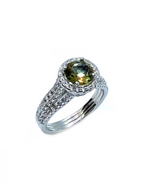 925 SILVER COLOR CHANGING ZULTNITE CZ STONE SOLITAIRE RING -11298-ZL