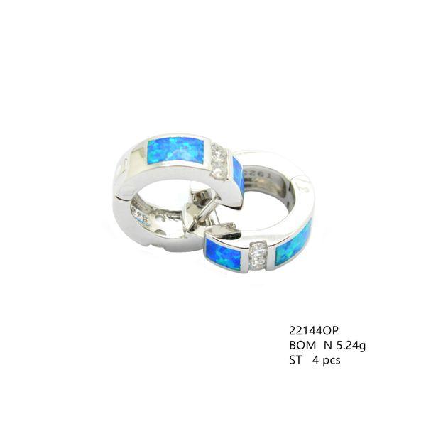 925 STERLING SILVER SIMULATED BLUE OPAL SMALL HUGGIE EARRINGS -22144-OP-K5