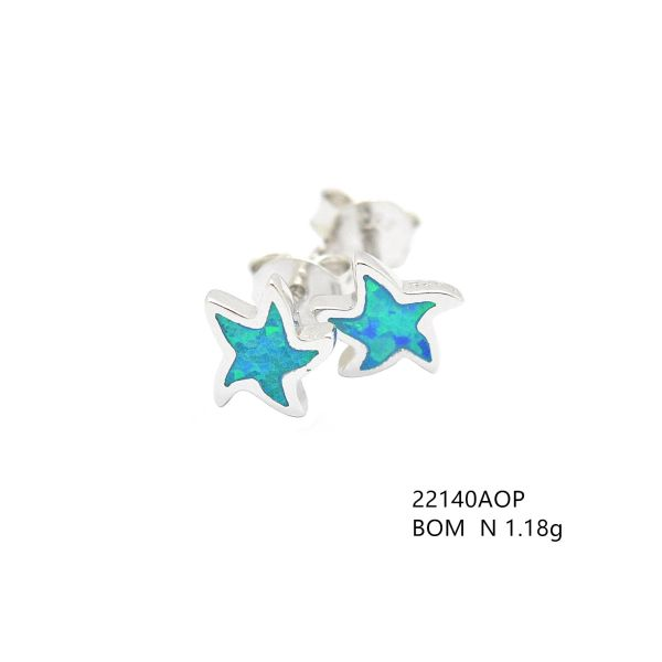 925 STERLING SILVER SIMULATED BLUE OPAL STAR FISH STUD EARRINGS 22140-K5