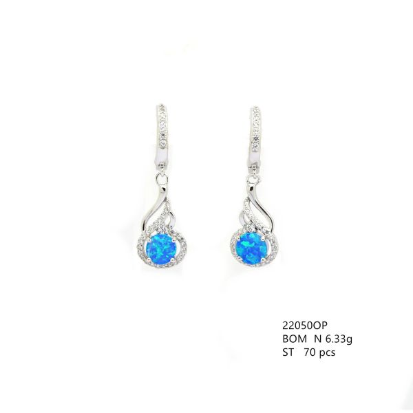 925 STERLING SILVER SIMULATED BLUE OPAL DANGLING EARRINGS 22050-K5-FEATHER