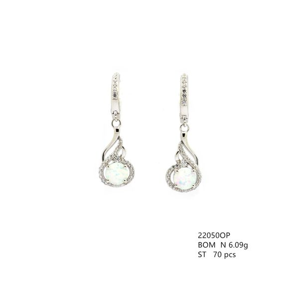 925 STERLING SILVER SIMULATED WHITE OPAL DANGLING EARRINGS 22050-K17-FEATHER