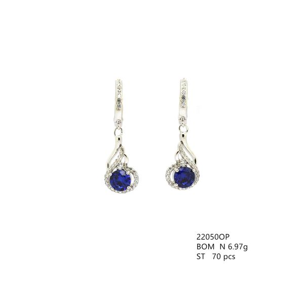 925 STERLING SILVER SIMULATED TANZNITE CZ STONE DANGLING EARRINGS 22050-TNZ-FEATHER
