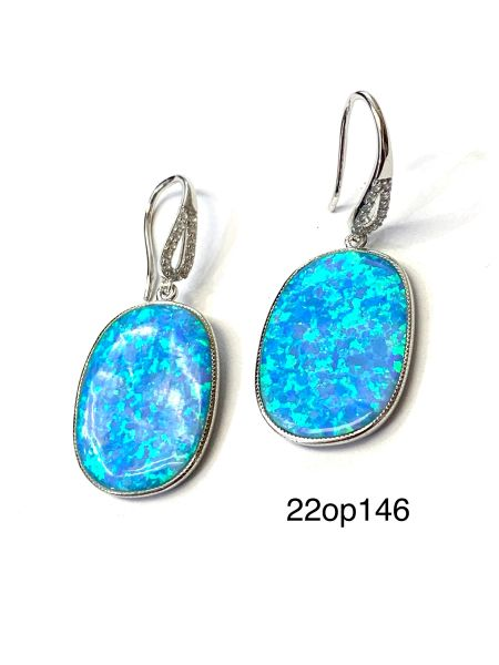 925 SILVER SIMULATED BLUE OPAL OVAL LARGE FISH WIRE DANGLING EARRINGS-22OP146-K5