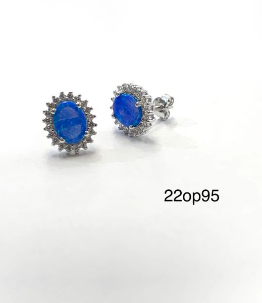 Halo Floral Stud Earrings Oval Lab Blue Opal 925 Sterling Silver -22op95-k5