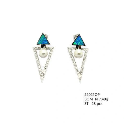 Pyramid Earrings Lab Blue Opal and Pearl 925 Sterling Silver -22021-k5