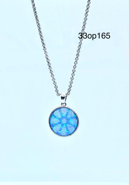 Round stone Lab Blue Opal Pendant 925 Sterling Silver -33op165-k5