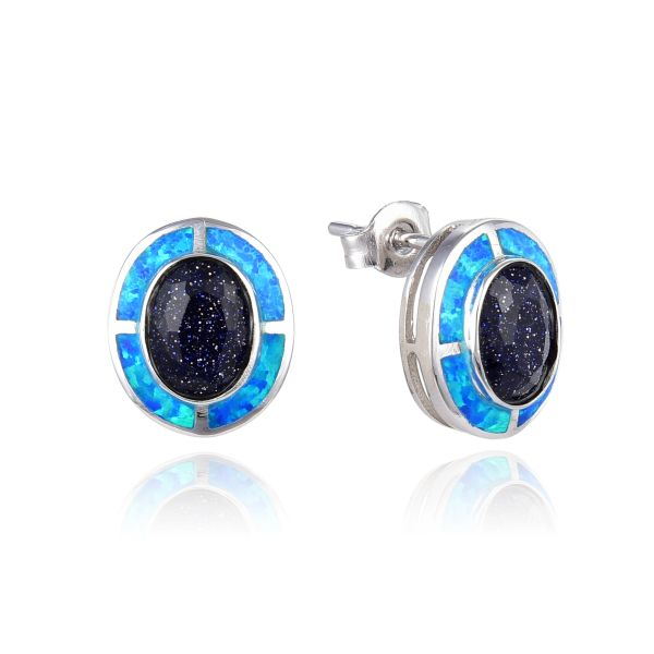 Vintage Oval Lab Blue Opal and Blue Sand Stone Earrings 925 Sterling Silver -22204-k5