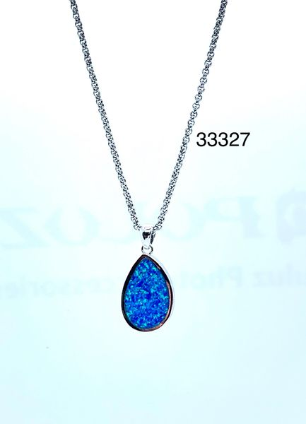 925 Sterling Silver Oval Plain Lab Blue Opal Pendant - 33327-k5