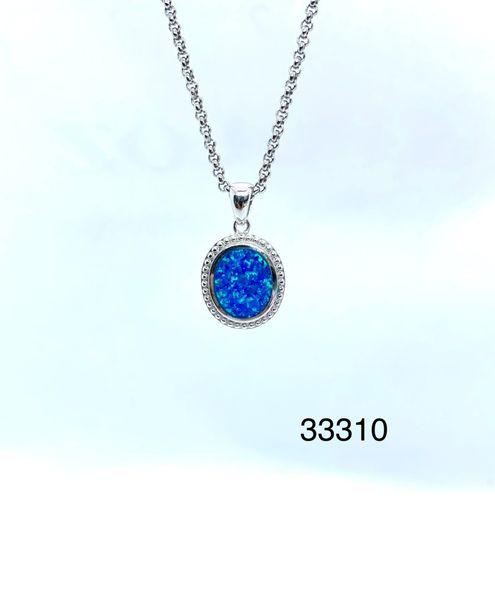925 Sterling Silver Oval Plain Lab Blue Opal Pendant - 33327-k5