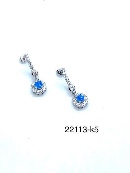 Triangle Shape Lab Blue Opal Halo Stud Earrings , 22015-k5