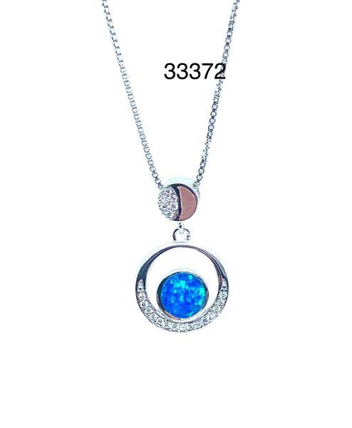 Round LIfe Cyrcle Loop, Lab Blue Opal Pendant,33372-k5
