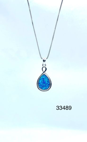 Infinity Drop Shape Lab Blue Opal Pendant,33489-k5