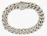 925 SILVER CZ SETTING STONE 11MM WIDE LADY & MEN CZ CUBAN BRACELET, WITH DOUBLE SAFETY LOCK,9 INCHES ,UNISEX-44208-9