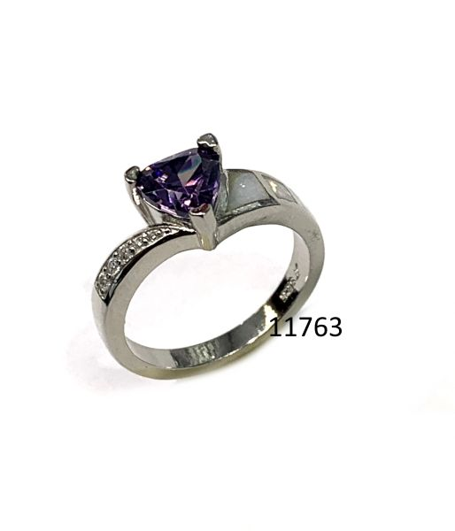 925 St, Silver Simulated white opal Ring with Amethyst triangle center stone - 11763-k17