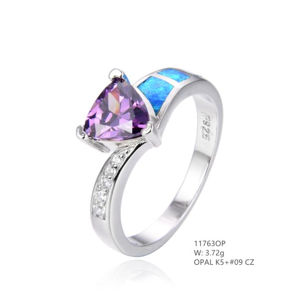 925 St, Silver Simulated Blue opal Ring with Amethyst triangle center stone - 11763-k5