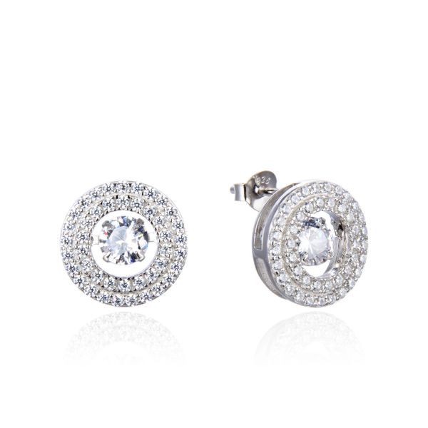 925 Sterling Silver Heart biting Dancing Diamond Earrings white CZ-22375-WH