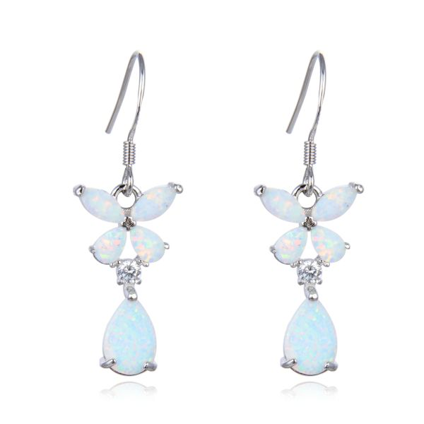 925 Sterling Silver Simulated White Opal Flower dangling Shape Baguette stone earrings-22456-k17