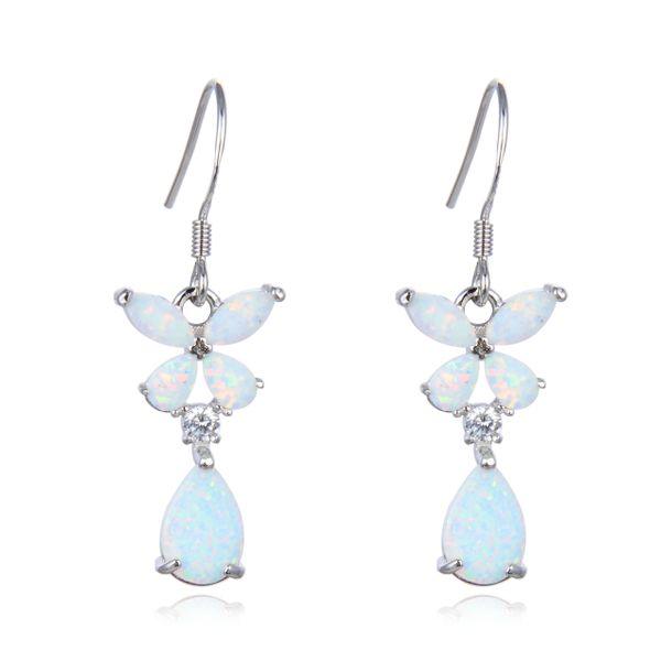 925 Sterling Silver Simulated White Opal Flower dangling Shape Baguette stone earrings-22456-k17