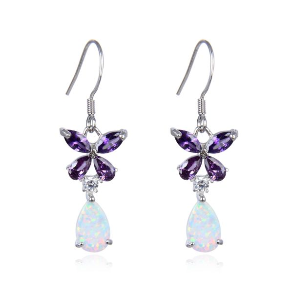 925 Sterling Silver Simulated White Opal Flower dangling Shape Baguette AMETHYST stone earrings-22456-k17-AM