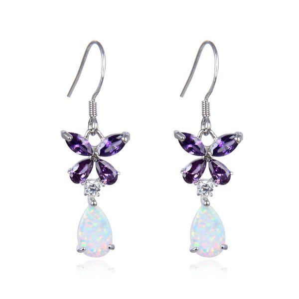 925 Sterling Silver Simulated White Opal Flower dangling Shape Baguette AMETHYST stone earrings-22456-k17-AM