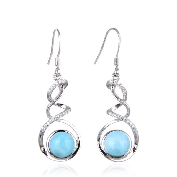 925 Sterling Silver Larimar Waterfall shape Dangling Earrings -22466-LA